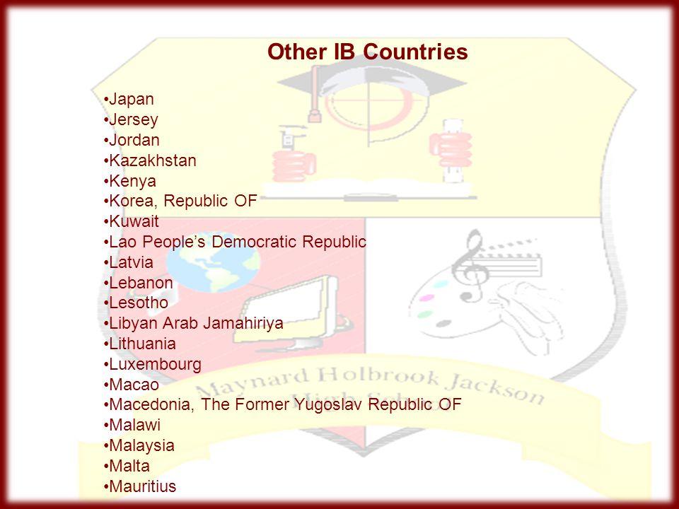 Other IB Countries Japan Jersey Jordan Kazakhstan Kenya Korea, Republic OF Kuwait Lao People's Democratic Republic Latvia Lebanon Lesotho Libyan Arab