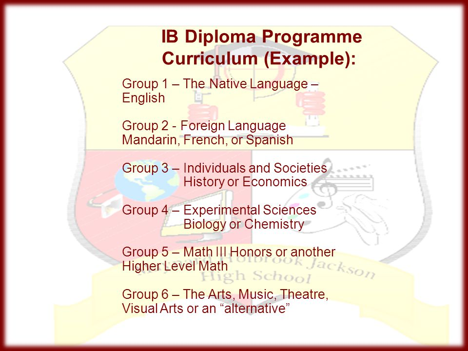 IB Diploma Programme Curriculum (Example): Group 1 – The Native Language – English Group 2 - Foreign Language Mandarin, French, or Spanish Group 3 – I