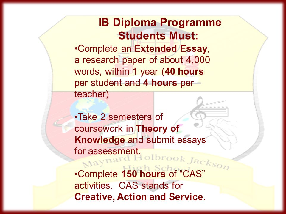 IB Diploma Programme Students Must: Complete an Extended Essay, a research paper of about 4,000 words, within 1 year (40 hours per student and 4 hours
