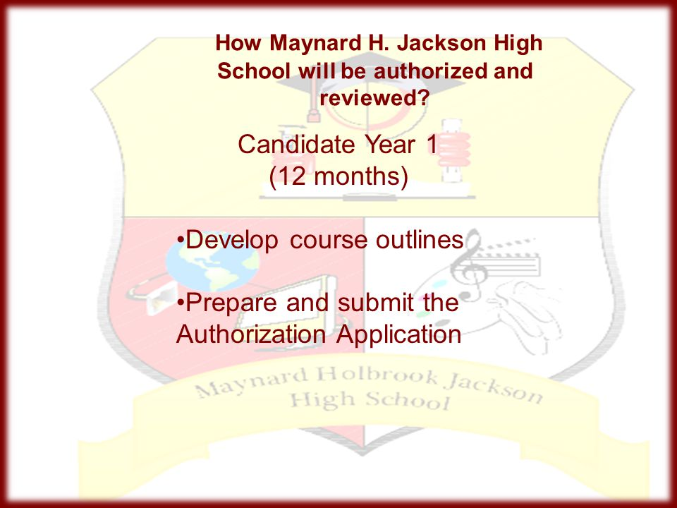 How Maynard H. Jackson High School will be authorized and reviewed? Candidate Year 1 (12 months) Develop course outlines Prepare and submit the Author