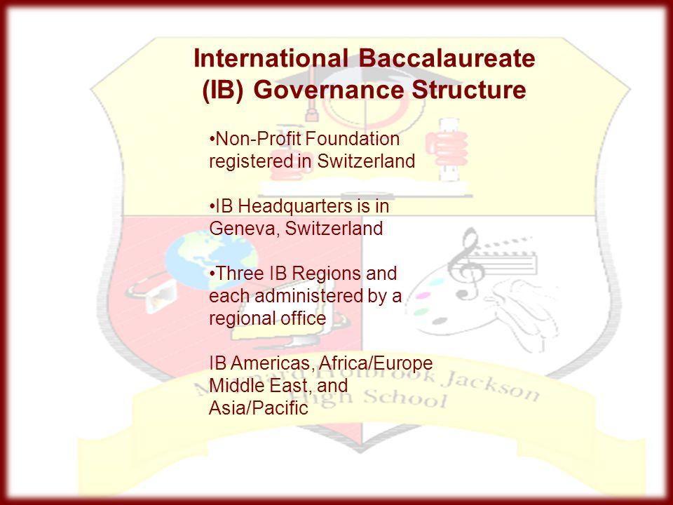 International Baccalaureate (IB) Governance Structure Non-Profit Foundation registered in Switzerland IB Headquarters is in Geneva, Switzerland Three