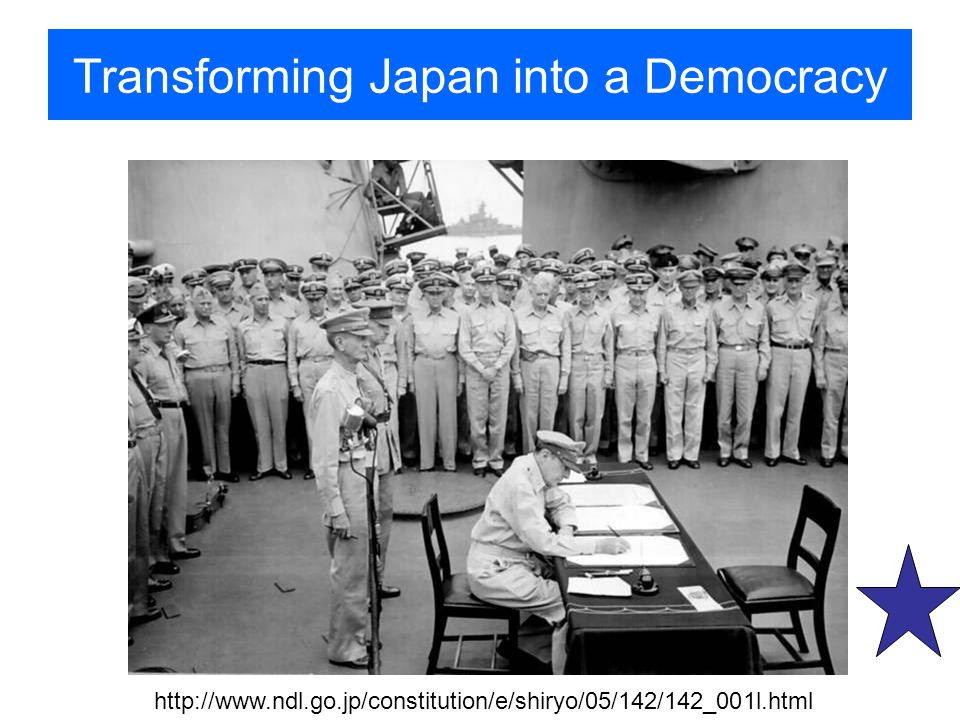 Transforming Japan into a Democracy http://www.ndl.go.jp/constitution/e/shiryo/05/142/142_001l.html