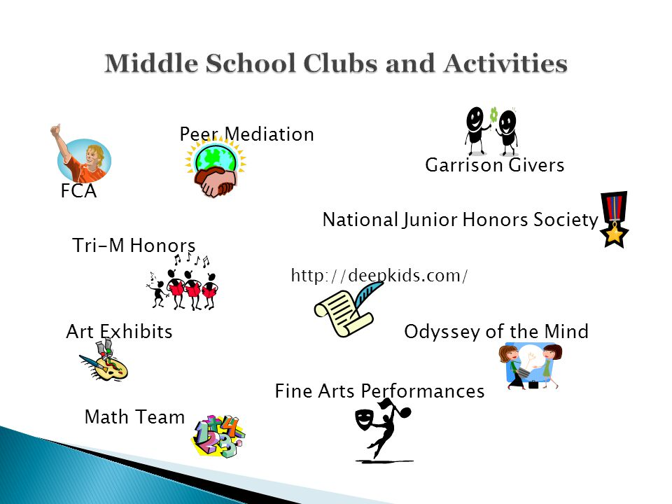 Peer Mediation Garrison Givers FCA National Junior Honors Society Tri-M Honors http://deepkids.com/ Art Exhibits Odyssey of the Mind Fine Arts Perform