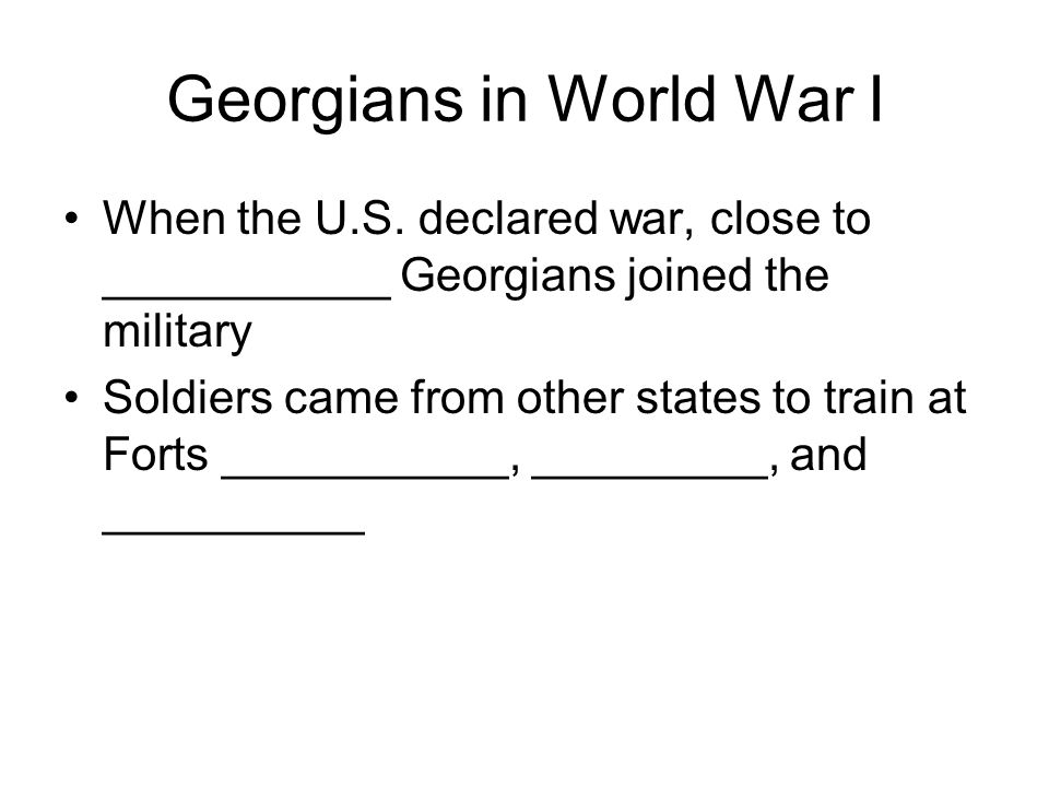 Georgians in World War I When the U.S.