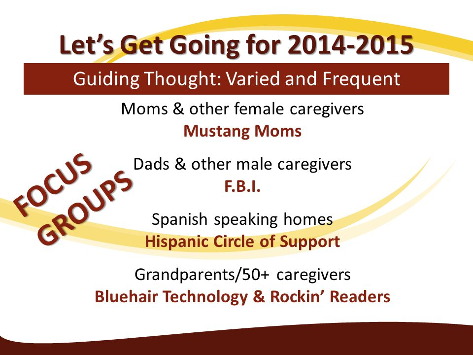 Let's Get Going for 2014-2015 Guiding Thought: Varied and Frequent Moms & other female caregivers Mustang Moms Dads & other male caregivers F.B.I. Spa