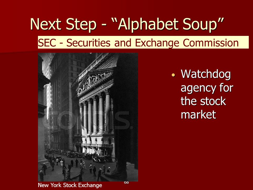 68 Next Step - Alphabet Soup Watchdog agency for the stock market Watchdog agency for the stock market SEC - Securities and Exchange Commission New York Stock Exchange