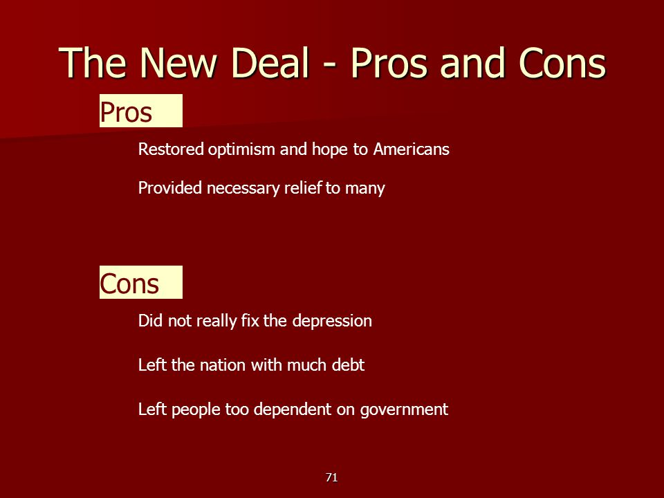 71 The New Deal - Pros and Cons Pros Restored optimism and hope to Americans Cons Did not really fix the depression Left the nation with much debt Provided necessary relief to many Left people too dependent on government