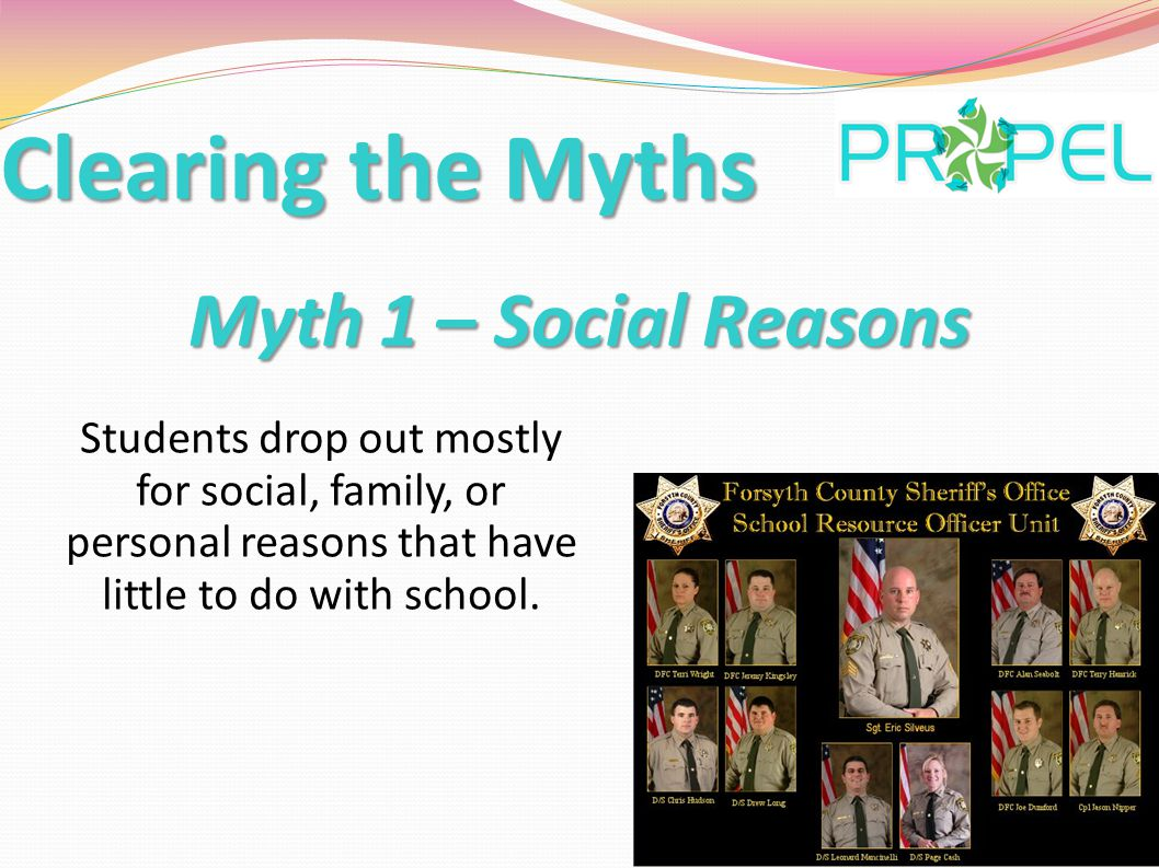 Myth 2 - Predictability Dropping out is a sudden and often surprising event that can't be predicted.