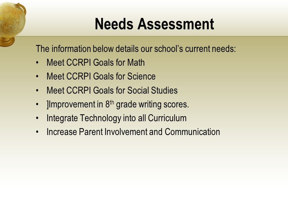 Needs Assessment The information below details our school's current needs: Meet CCRPI Goals for Math Meet CCRPI Goals for Science Meet CCRPI Goals for