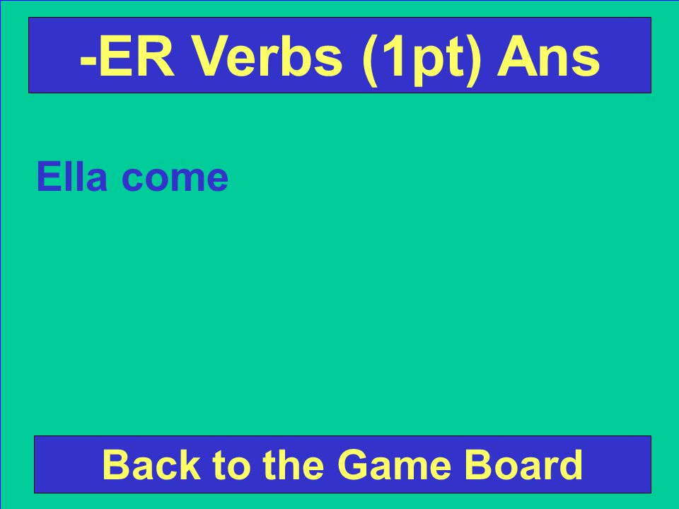 Conjugate the following verb according to the subject pronoun. Ella (comer) Check Your Answer -ER Verbs (1pt) Ques