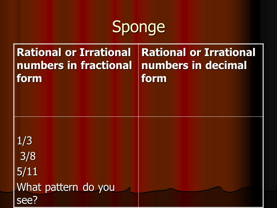 Sponge Aug 20 21.Name one number for each of the following criteria.