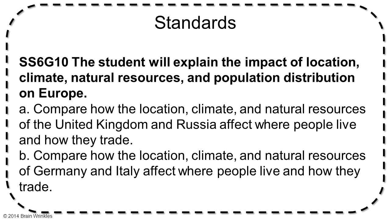 Standards SS6G10 The student will explain the impact of location, climate, natural resources, and population distribution on Europe. a. Compare how th
