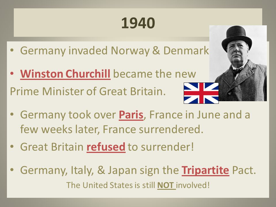 1940 Germany invaded Norway & Denmark.