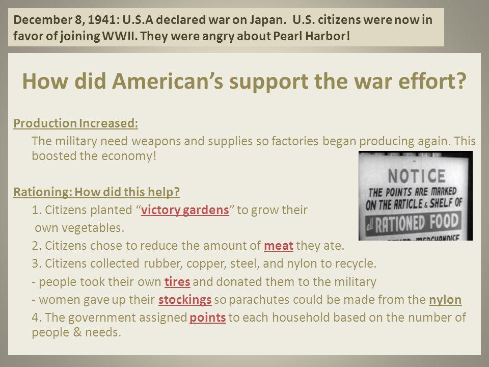 December 8, 1941: U.S.A declared war on Japan.U.S.