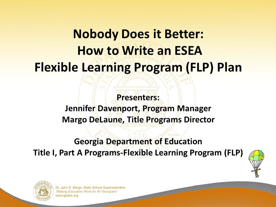 FLP Education Specialist Contact Information Sue Hawks Foster Georgia Department of Education FLP Education Program Specialist sfoster@doe.k12.ga.us (404) 656-2636 Yvonne Hodge Georgia Department of Education FLP Education Program Specialist yhodge@doe.k12.ga.us (404) 656-2423