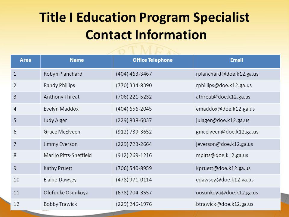 Title I Education Program Specialist Contact Information AreaNameOffice TelephoneEmail 1Robyn Planchard(404) 463-3467rplanchard@doe.k12.ga.us 2Randy P