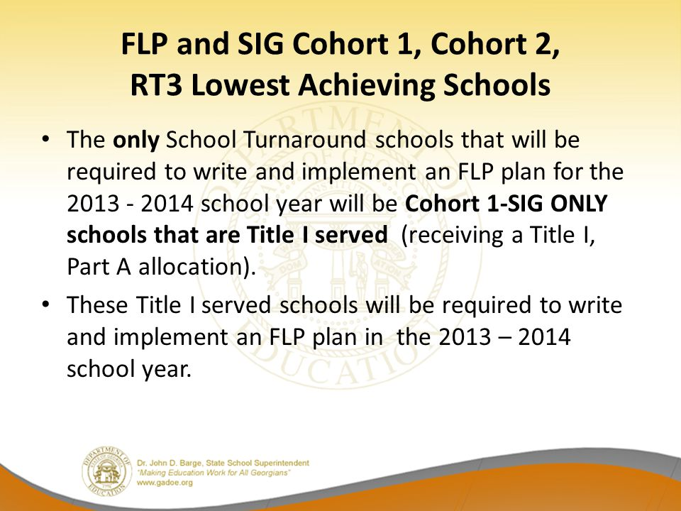 FLP Component 4  Description of the delivery model (continued) Must extend the learning day in some way.