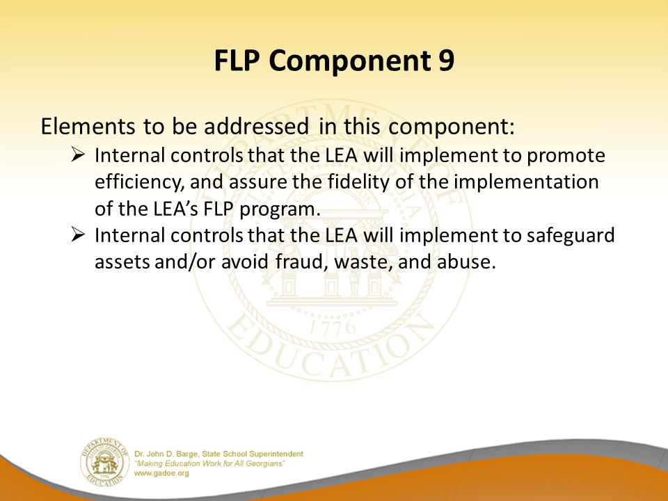 FLP Component 9 Elements to be addressed in this component:  Internal controls that the LEA will implement to promote efficiency, and assure the fide