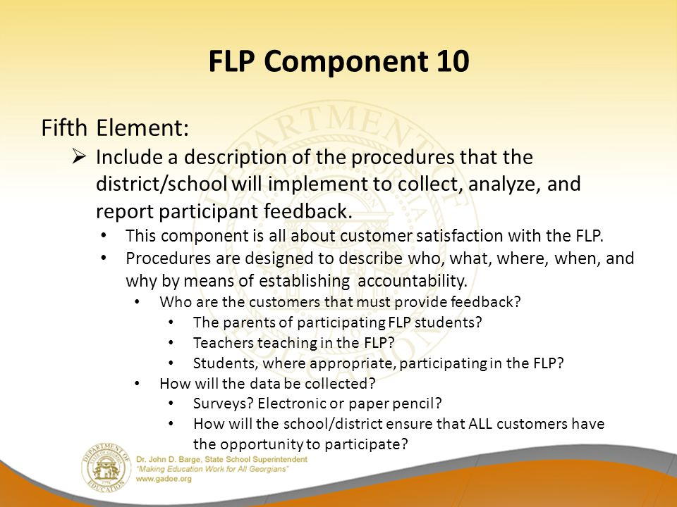 FLP Component 10 Fifth Element:  Include a description of the procedures that the district/school will implement to collect, analyze, and report part