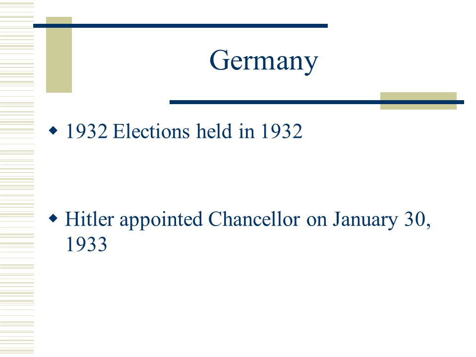 Germany  Depression weakened support for the Weimar Republic  Torn between Communists and Nazis