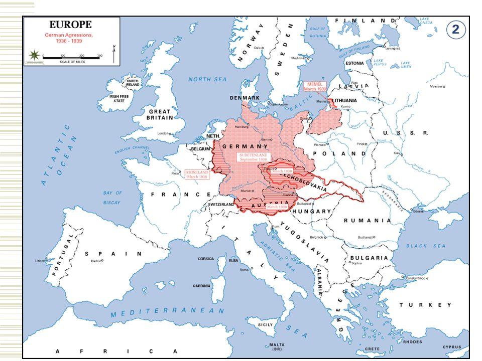 Causes of World War II  Hitler redraws Germany's borders Austria (1938) Czechoslovakia