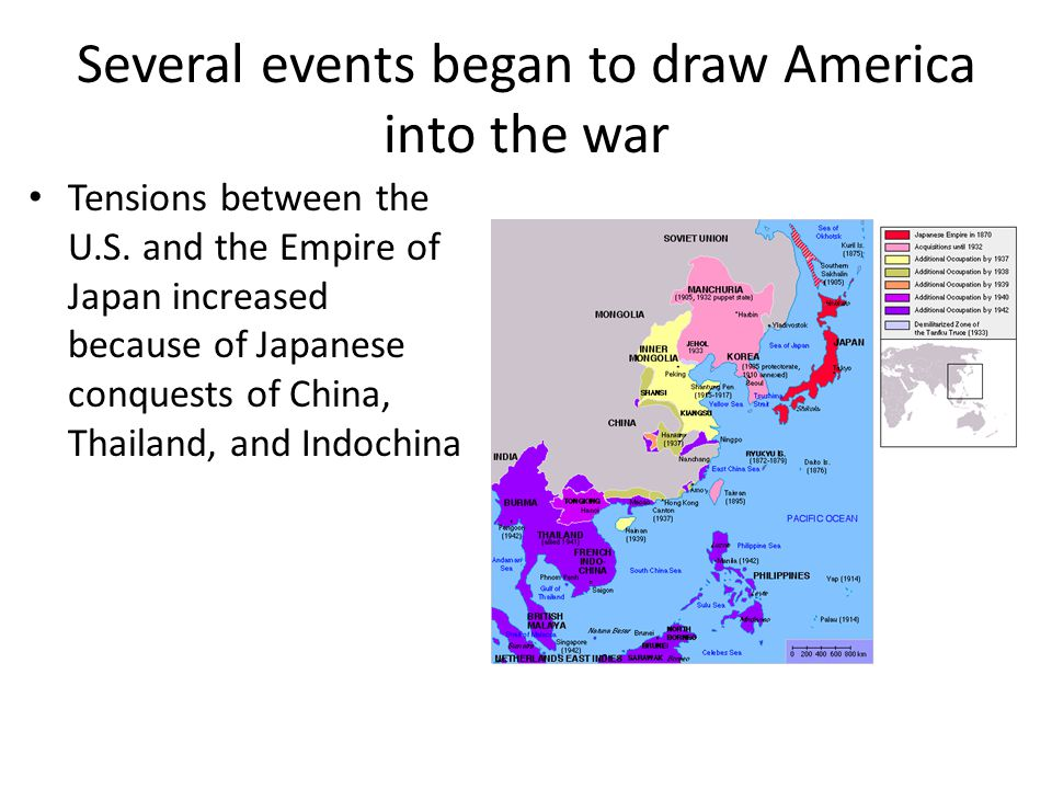 Several events began to draw America into the war Tensions between the U.S.