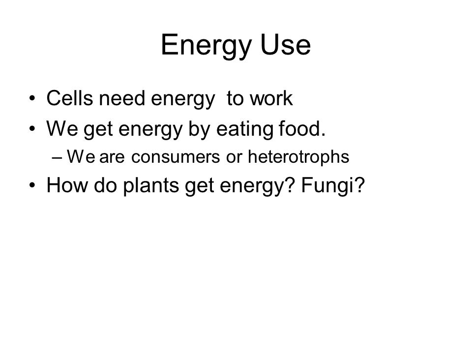 Energy Use Cells need energy to work We get energy by eating food. –We are consumers or heterotrophs How do plants get energy? Fungi?