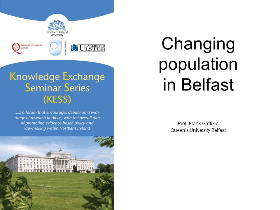 Changing population in Belfast Prof. Frank Gaffikin Queen's University Belfast
