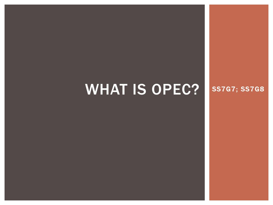 SS7G7; SS7G8 WHAT IS OPEC?