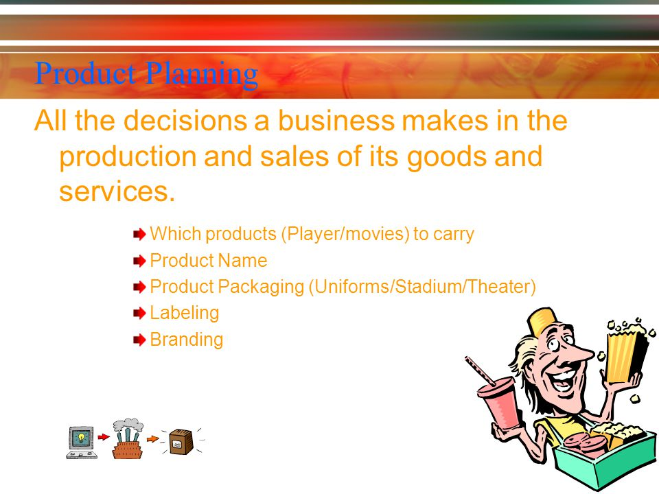 Product Planning All the decisions a business makes in the production and sales of its goods and services.