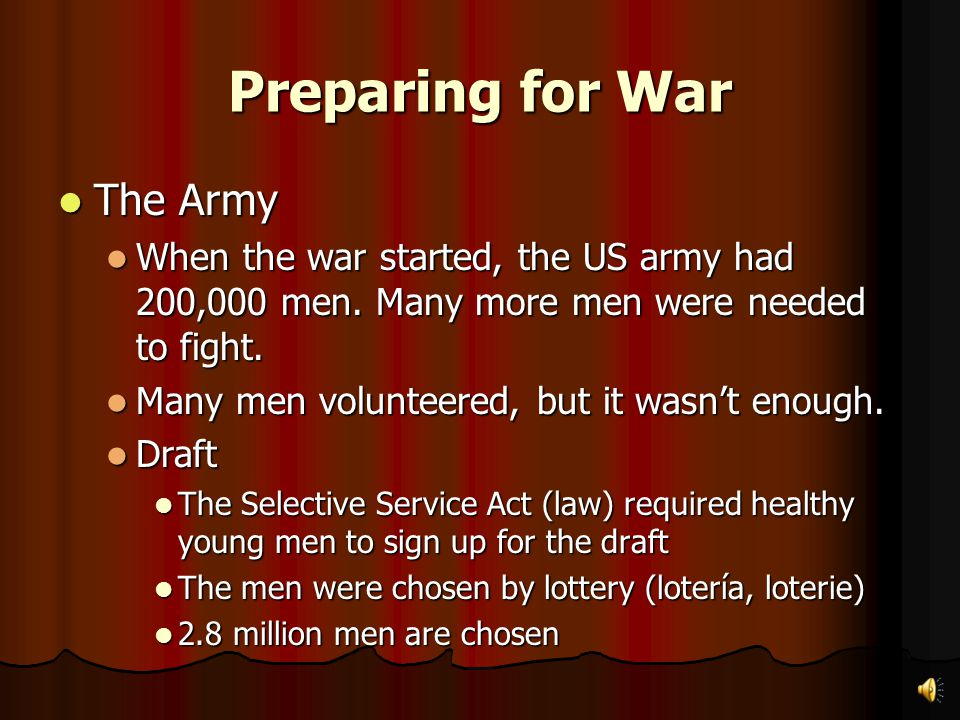 Preparing for War The US sent a lot of supplies while American troops trained. The US sent a lot of supplies while American troops trained. The US gov