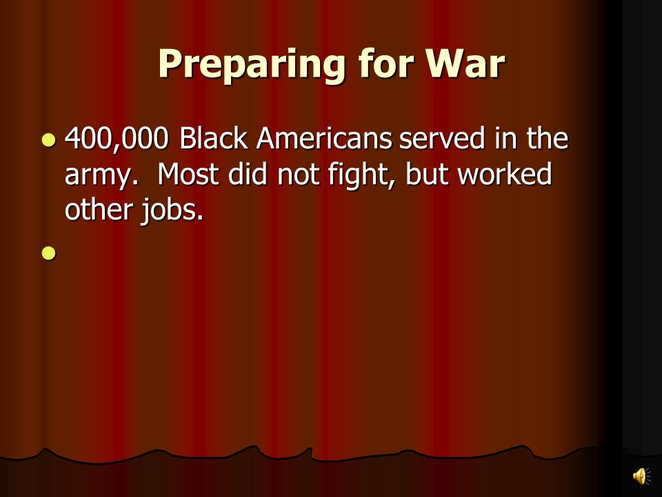 Preparing for War The Army The Army When the war started, the US army had 200,000 men. Many more men were needed to fight. When the war started, the U