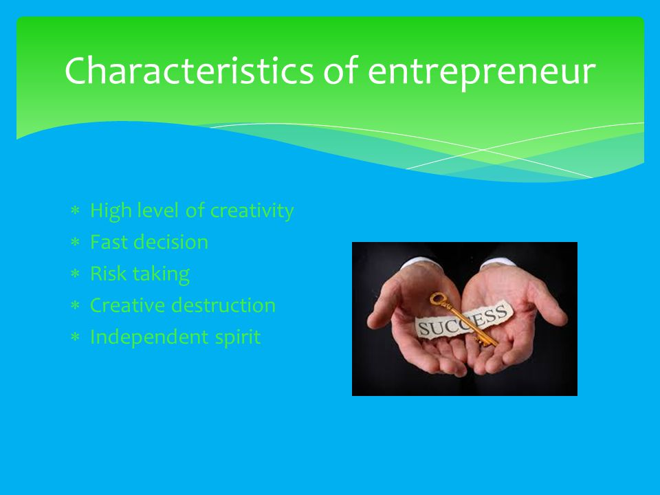  High level of creativity  Fast decision  Risk taking  Creative destruction  Independent spirit Characteristics of entrepreneur