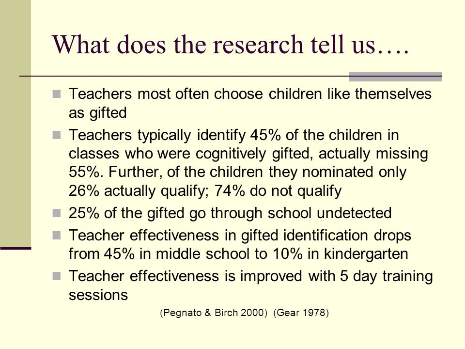 What does the research tell us….