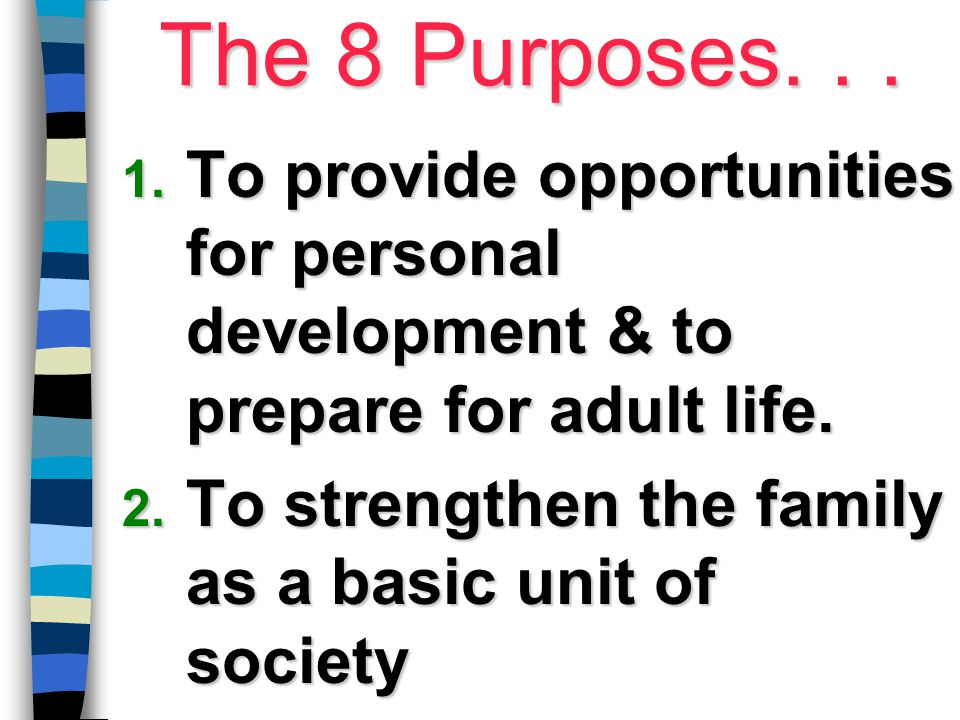The 8 Purposes... 1. To provide opportunities for personal development & to prepare for adult life. 2. To strengthen the family as a basic unit of soc