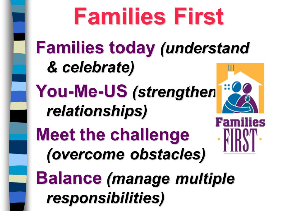 Families today (understand & celebrate) You-Me-US (strengthen relationships) Meet the challenge (overcome obstacles) Balance (manage multiple responsi