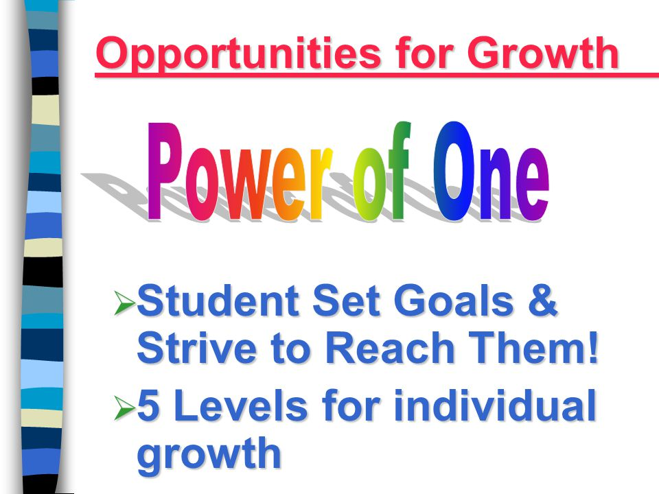 Student Set Goals & Strive to Reach Them!  5 Levels for individual growth Opportunities for Growth