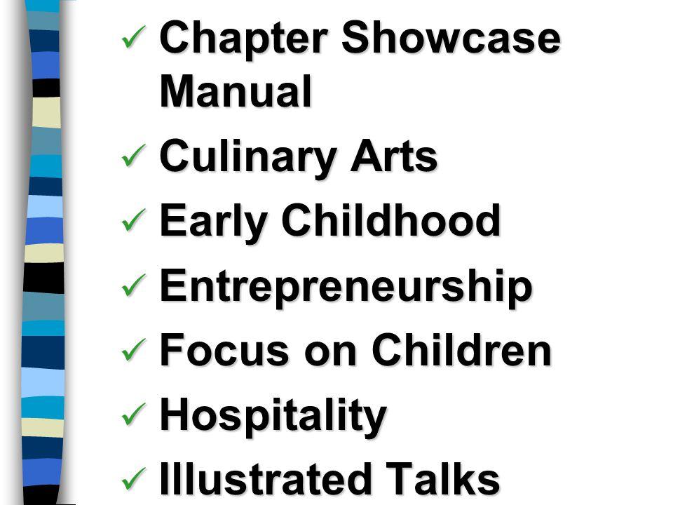 Chapter Showcase Manual Chapter Showcase Manual Culinary Arts Culinary Arts Early Childhood Early Childhood Entrepreneurship Entrepreneurship Focus on