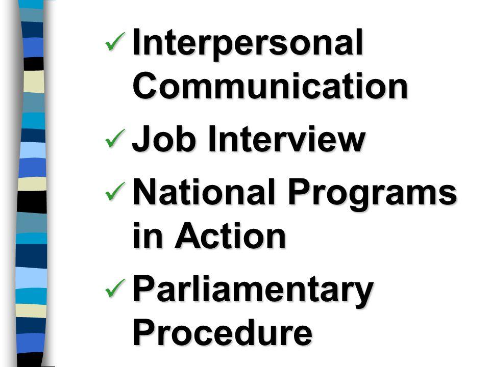 Interpersonal Communication Interpersonal Communication Job Interview Job Interview National Programs in Action National Programs in Action Parliament