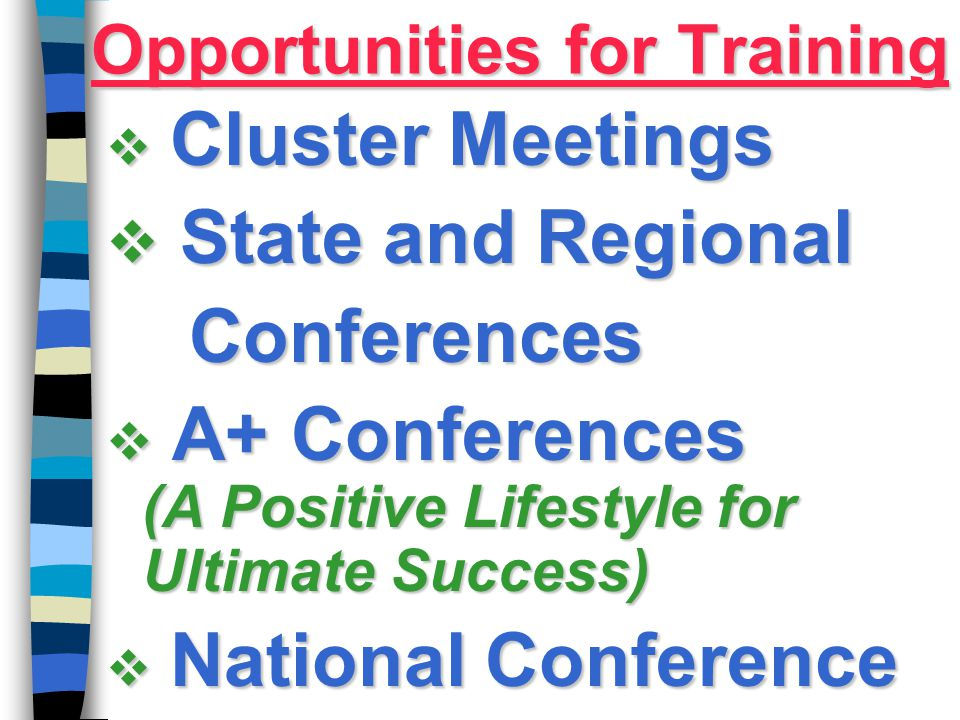 Opportunities for Training  Cluster Meetings  State and Regional Conferences Conferences  A+ Conferences (A Positive Lifestyle for Ultimate Success