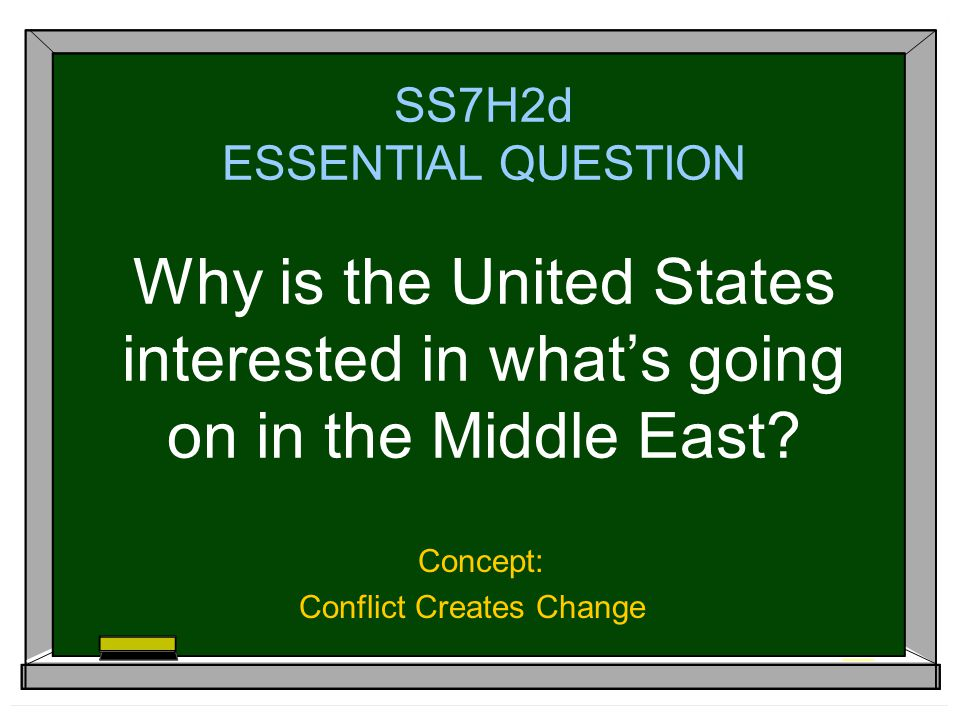 SS7H2d ESSENTIAL QUESTION Why is the United States interested in what's going on in the Middle East.
