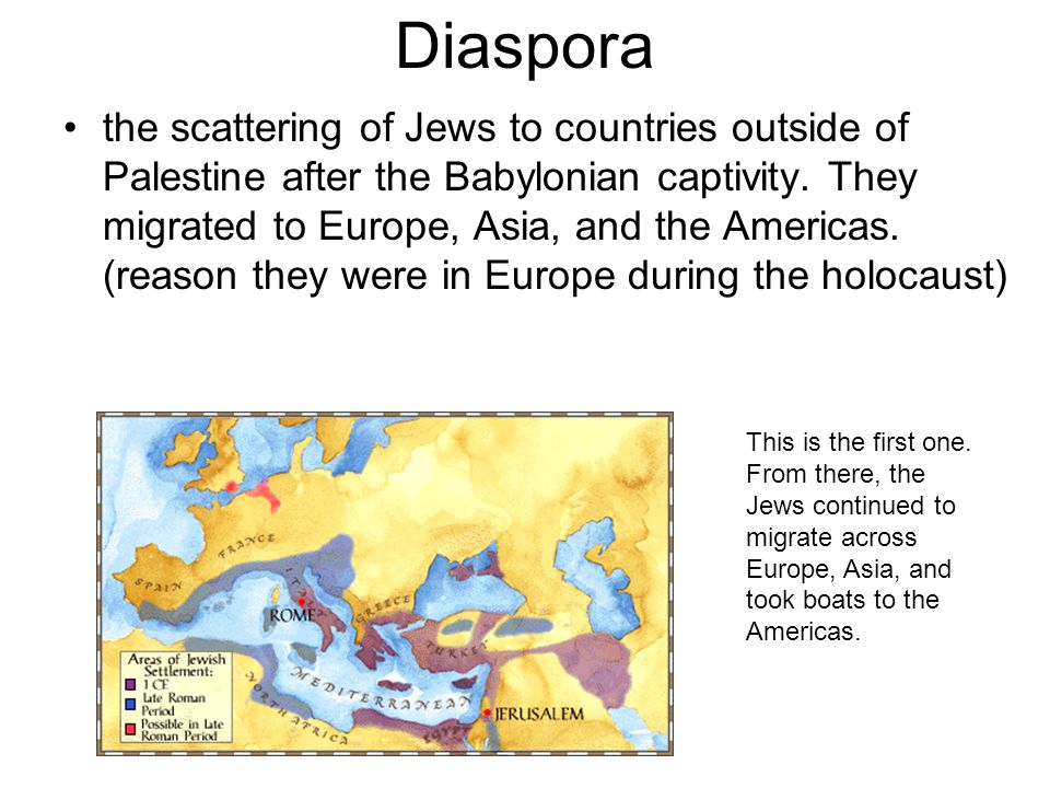 Diaspora the scattering of Jews to countries outside of Palestine after the Babylonian captivity. They migrated to Europe, Asia, and the Americas. (re