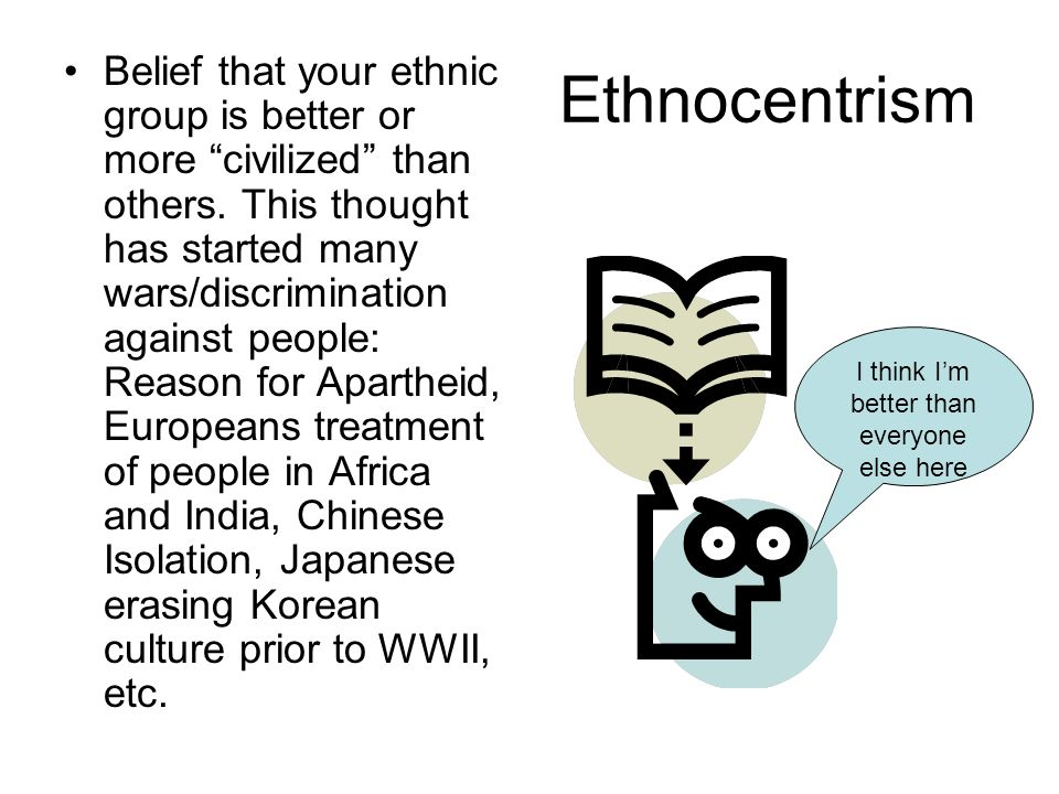 "Ethnocentrism Belief that your ethnic group is better or more ""civilized"" than others. This thought has started many wars/discrimination against peopl"