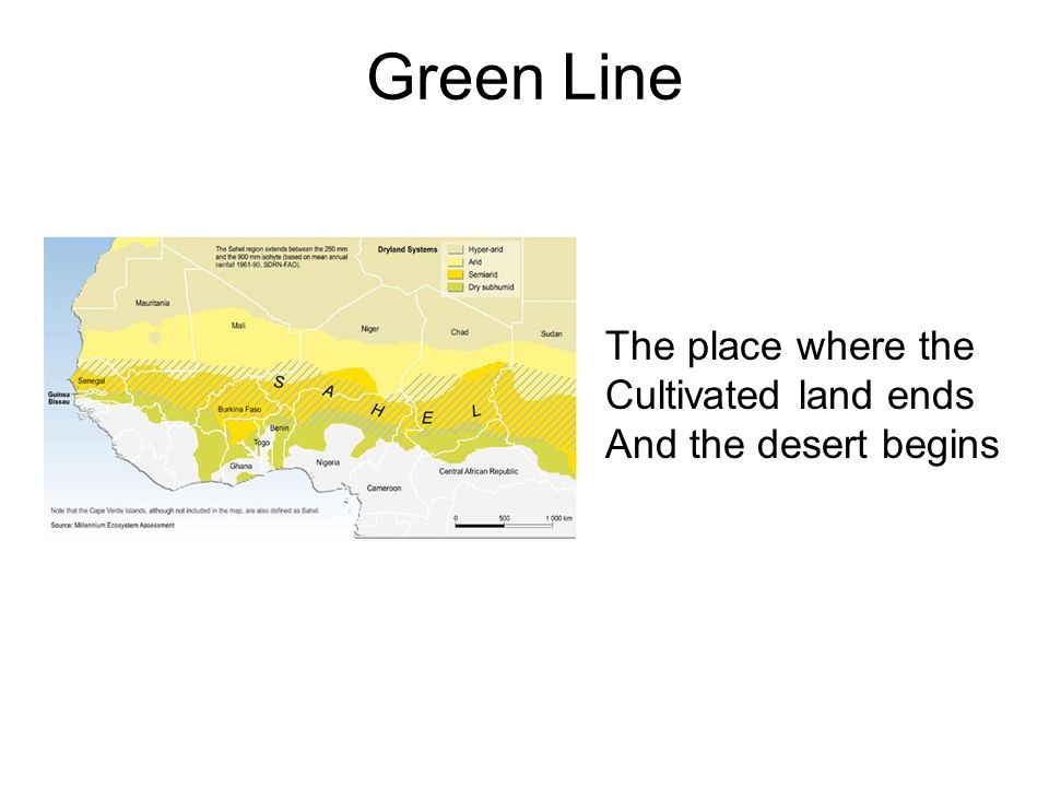 Green Line The place where the Cultivated land ends And the desert begins