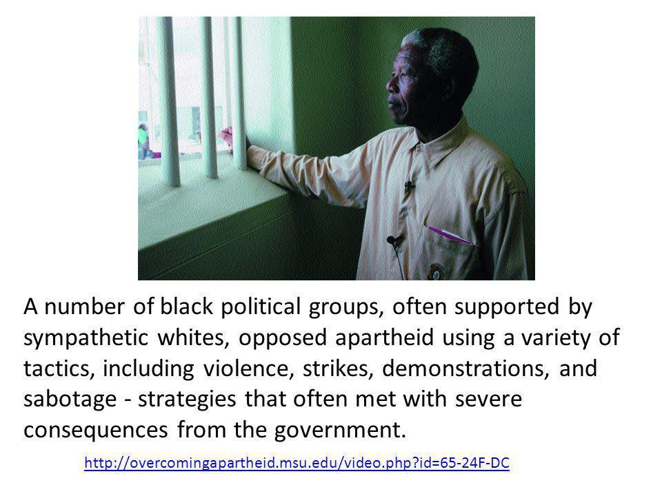 A number of black political groups, often supported by sympathetic whites, opposed apartheid using a variety of tactics, including violence, strikes,