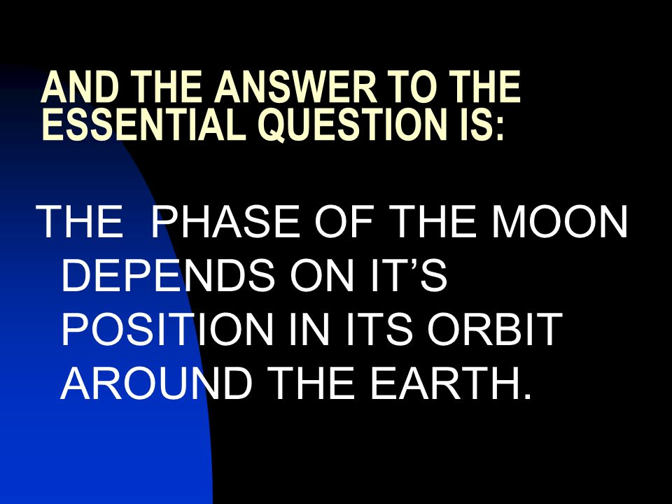 AND THE ANSWER TO THE ESSENTIAL QUESTION IS: THE PHASE OF THE MOON DEPENDS ON IT'S POSITION IN ITS ORBIT AROUND THE EARTH.