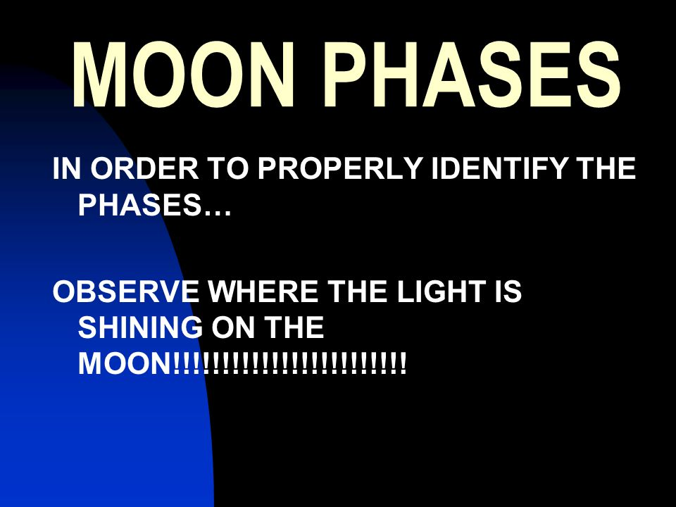 MOON PHASES IN ORDER TO PROPERLY IDENTIFY THE PHASES… OBSERVE WHERE THE LIGHT IS SHINING ON THE MOON!!!!!!!!!!!!!!!!!!!!!!!!