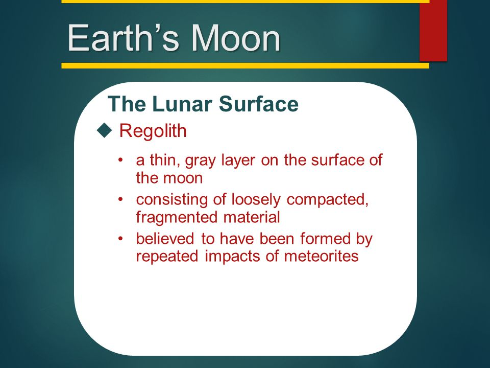 Major Topographic Features of the Moon