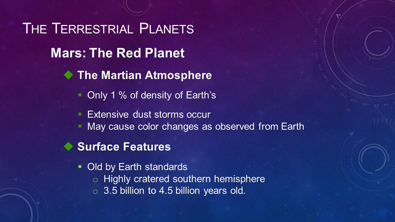 The Martian Atmosphere  The Martian Atmosphere  Only 1 % of density of Earth's Surface Features  Surface Features  Old by Earth standards o Highly