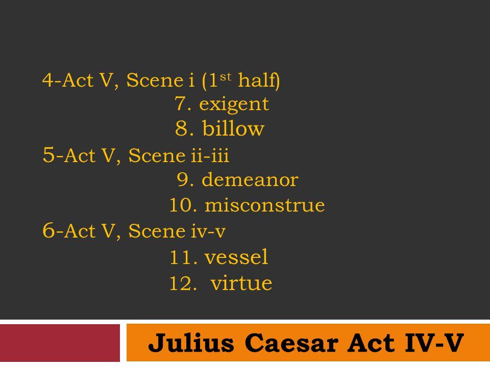 4-Act V, Scene i (1 st half) 7. exigent 8. billow 5- Act V, Scene ii-iii 9. demeanor 10. misconstrue 6- Act V, Scene iv-v 11. vessel 12. virtue Julius